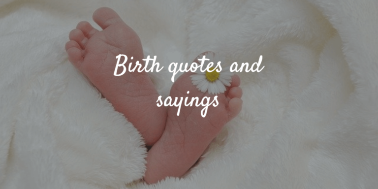 Newborn baby with flower. Birth quotes and sayings